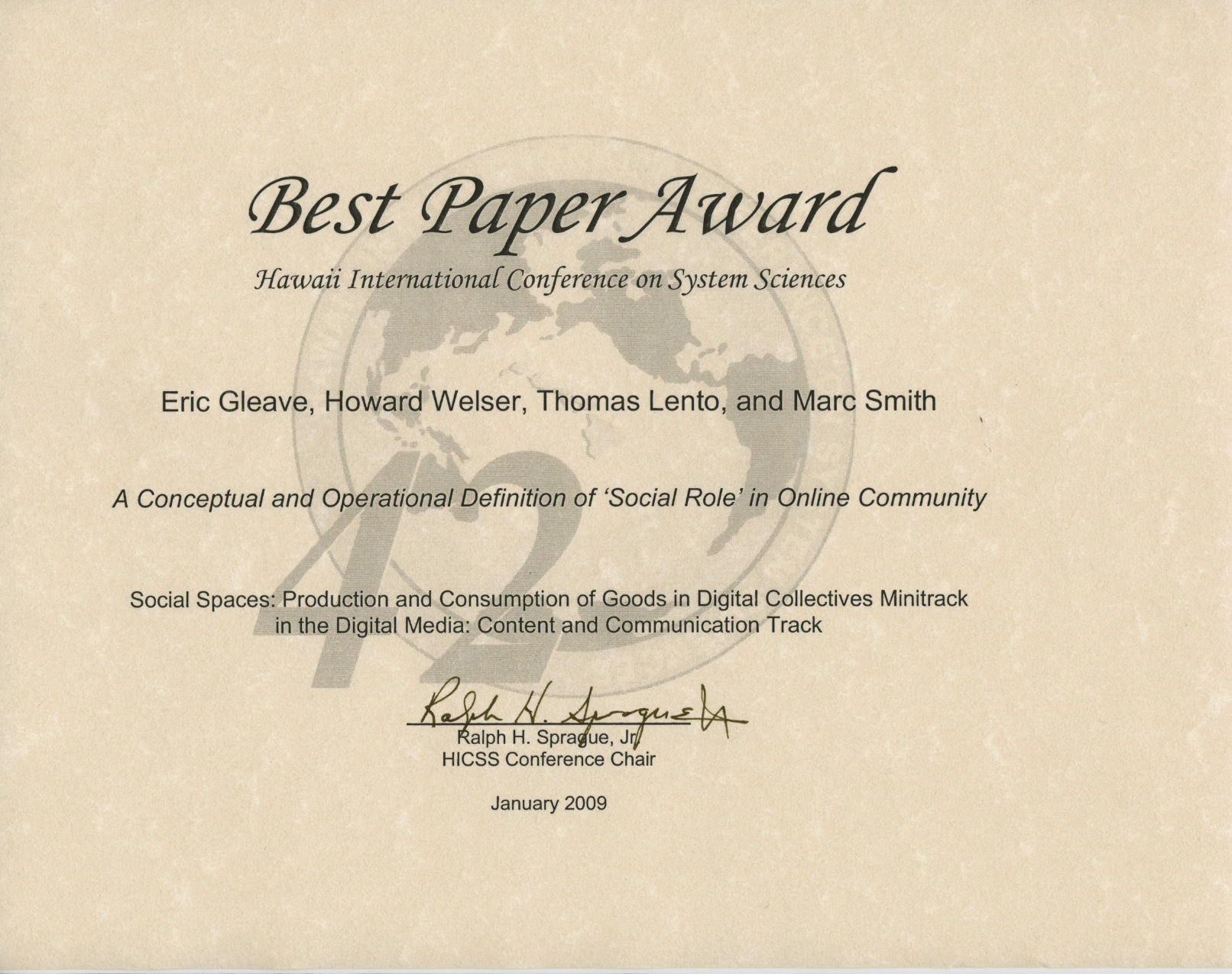 award letter definition best paper at hicss 42 a conceptual and operational 20533 | 2009 january hicss best paper award social roles1