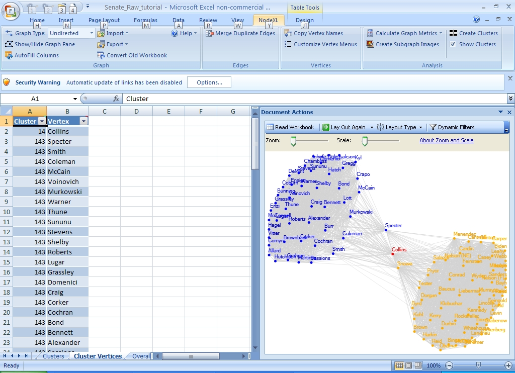 NodeXL Screenshot - US Senate