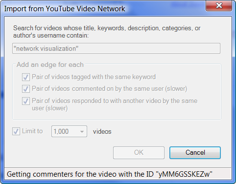 2009 - November - NodeXL v 100 - YouTube Video Network Import Dialog